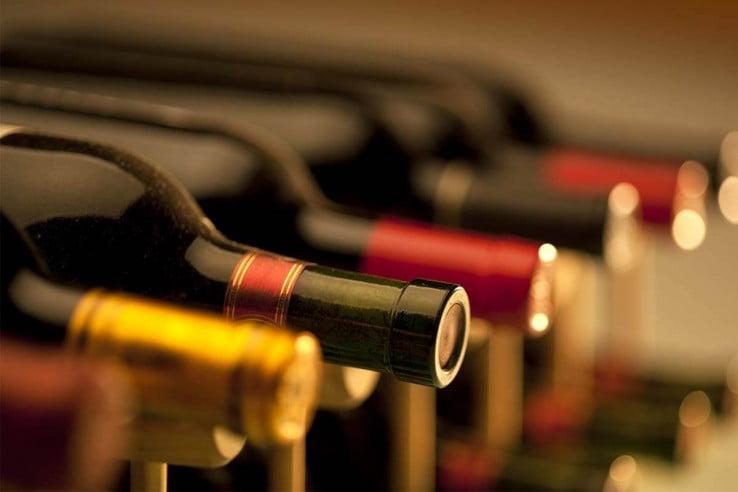 Wine bottles.