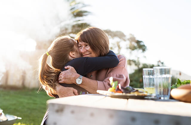 Air New Zealand grandma and child hugging