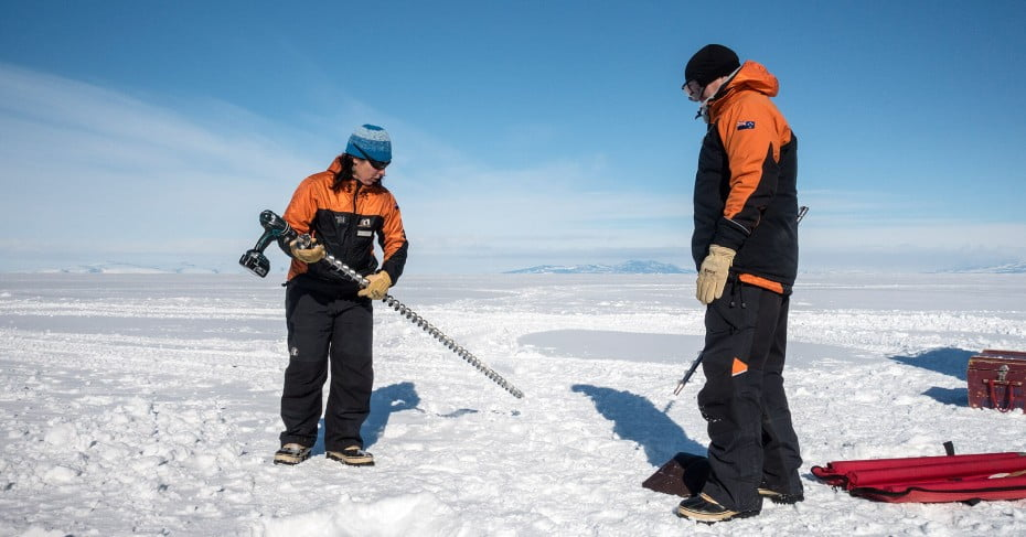 Testing sea ice at Scott Base, Antarctica.