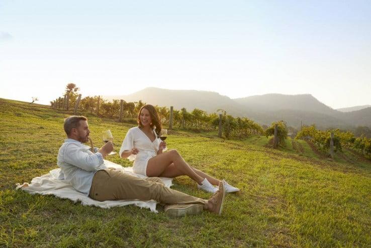 Hunter Valley, couple enjoying food and wine, NSW, Australia
