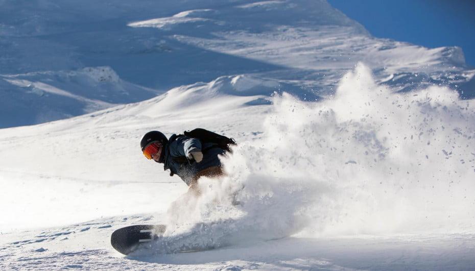Snowboarder at Turoa, Mt Ruapehu, New Zealand.