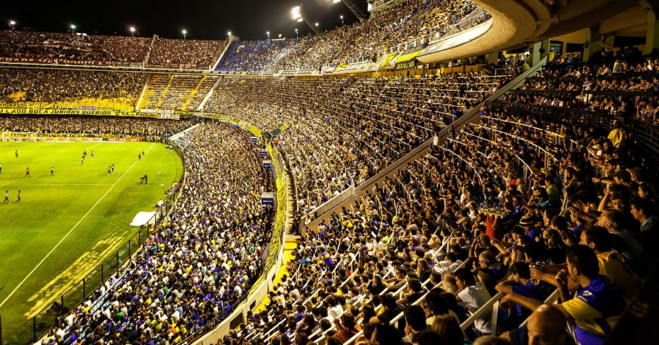 Crowded football stadium, Buenos Aires, Argentina.