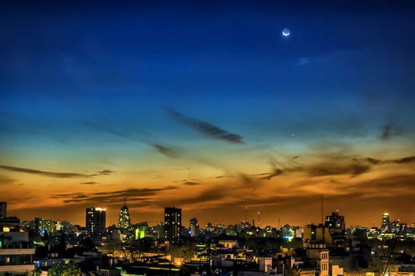 Moon over Palermo, Buenos Aires, Argentina.