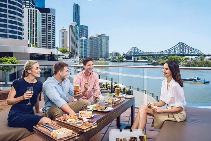 Alfresco dining with views, Brisbane, Australia.