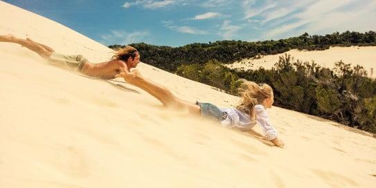 Sand-tobogganing, Brisbane, Australia.