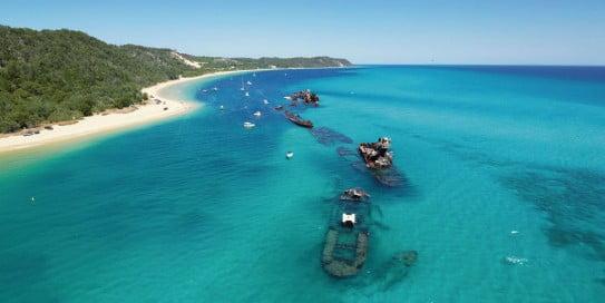 Shipwrecks near Tangalooma Island, Brisbane, Australia.