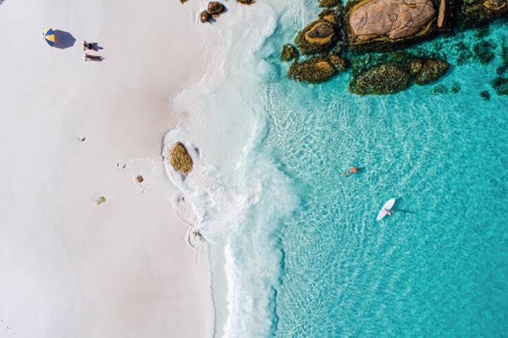 Aerial view of Hellfire Bay, Esperance, Australia.