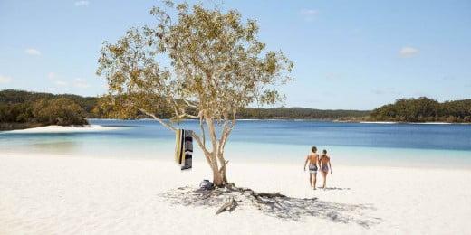 Couple Walking on Fraser Island, Queensland