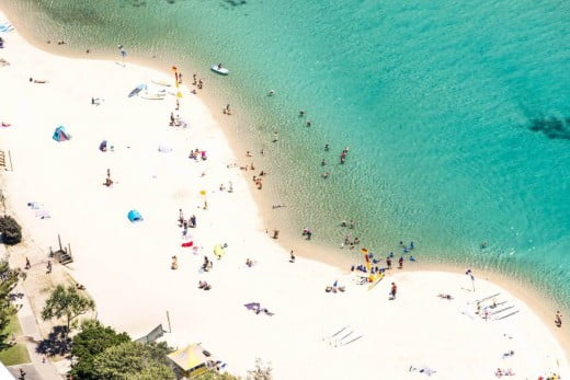 Aerial view of people on the beach and in the ocean, Gold Coast.