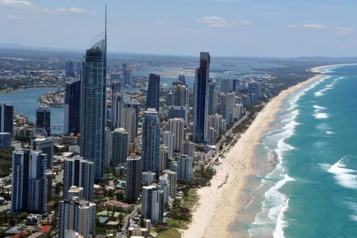 Aerial view of Surfers Paradise.