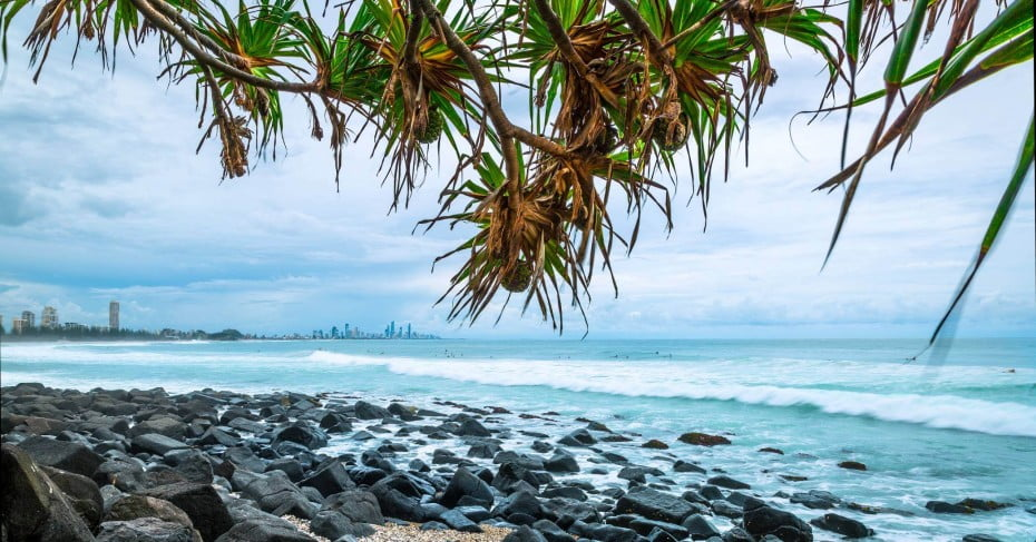 Burleigh Beach and rocks looking out to Surfers Paradise.