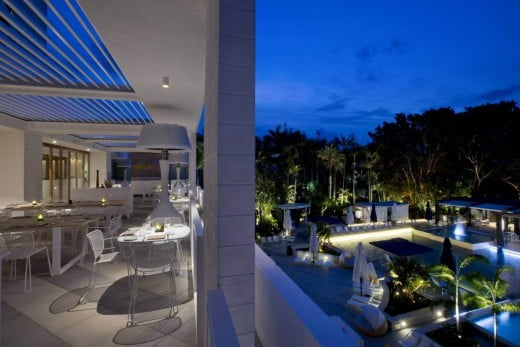 Cucina Vivo balcony overlooking pool.