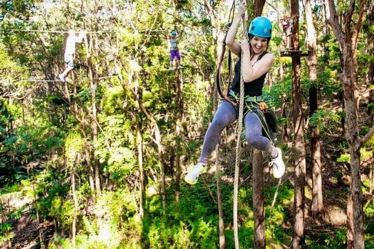 Girls at Tamborine Treetop Challenge, Sunshine Coast, Queensland, Australia.