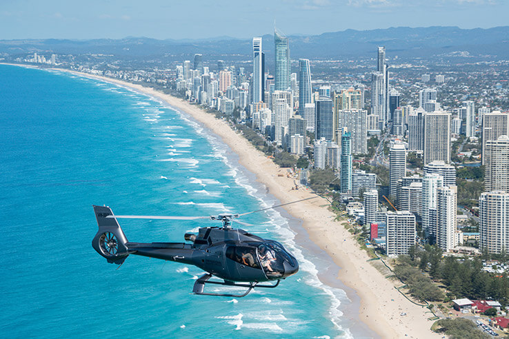 Helicopter over Gold Coast, Australia.
