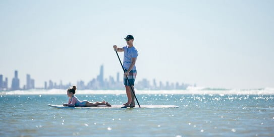 Paddle boarding at Currumbin, Gold Coast.