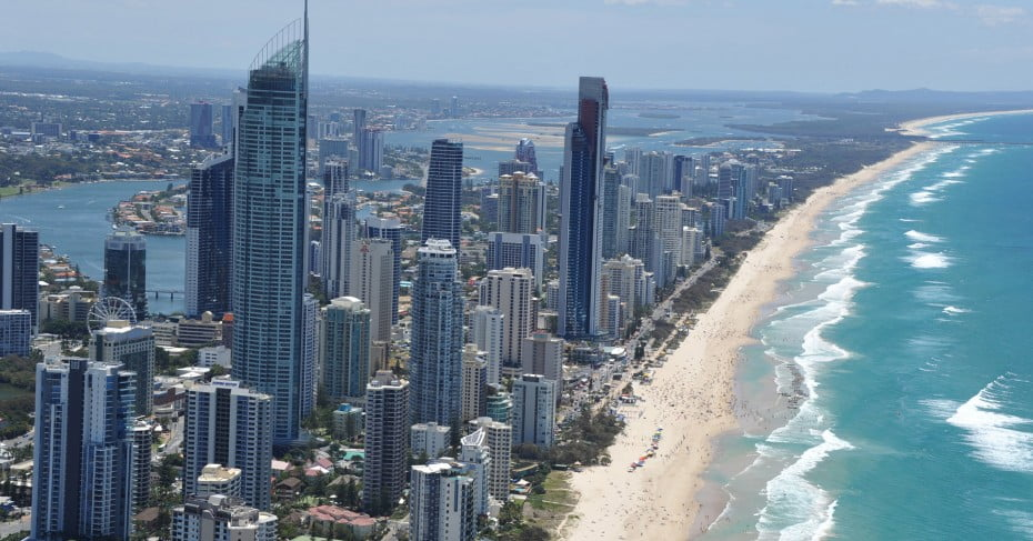 Aerial view of Surfer's Paradise, Gold Coast, Australia.