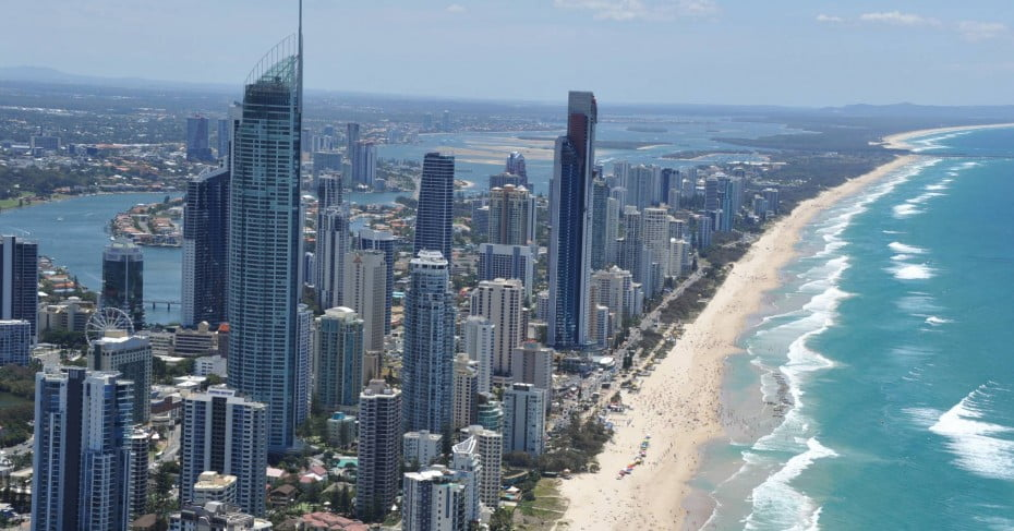 Aerial of Q1 and Surfers Paradise Precinct with People Beach, Gold Coast.