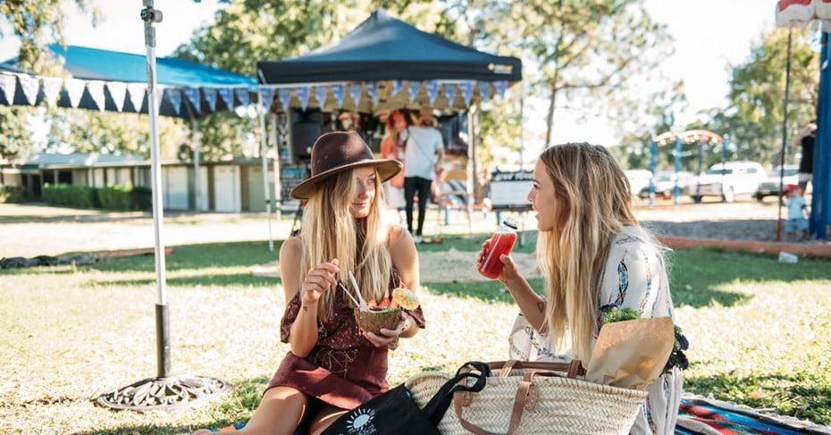 Picnicking at The Village Markets, Gold Coast, Australia.