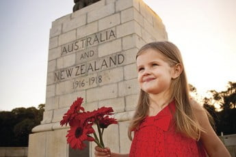 Girl in red at the Desert Mounted Corps Memorial, Albany, Australia.