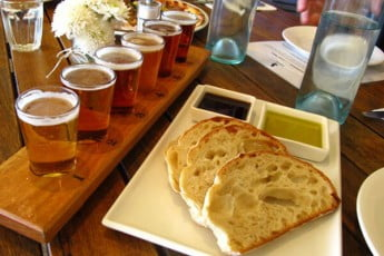 Tasting paddle and food, Eagle Bay Brewing Company, Dunsborough, Australia.