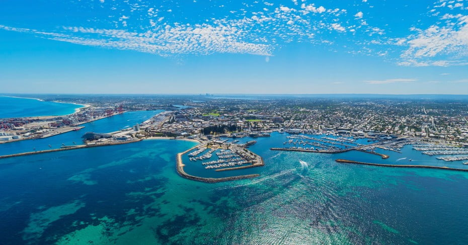 Fremantle aerial shot, Perth.