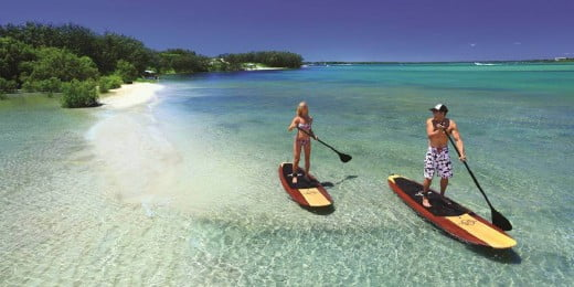 Paddle boarding at Pumice Stone Passage, Queensland, Australia.