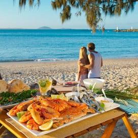 Prawns meal, Mooloolaba, Sunshine Coast, Australia.