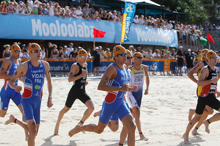 Triathletes, Mooloolaba, Sunshine Coast, Australia.
