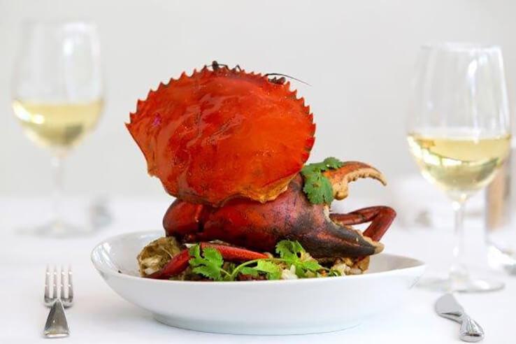 Crab dish at Noosa Beach House, Sunshine Coast, Australia.
