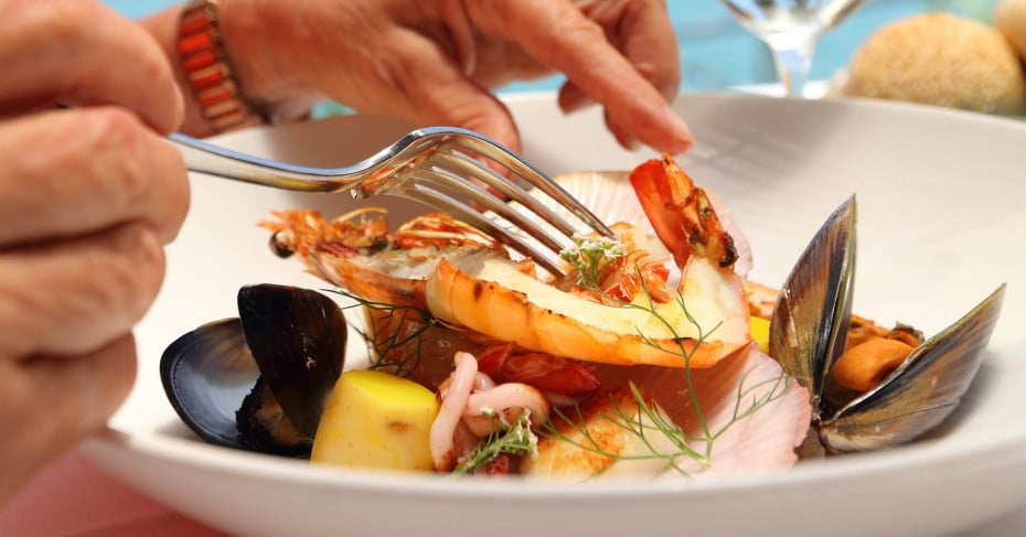 Prawns meal, Ricky's restaurant, Noosa, Sunshine Coast, Australia.