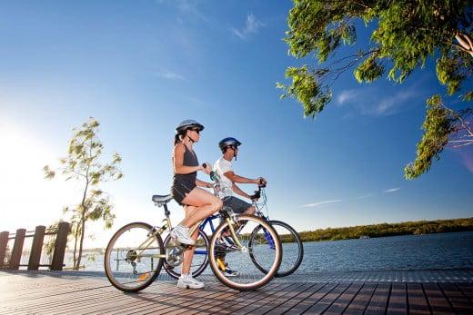 Biking down Noosa River, Sunshine Coast, Australia.