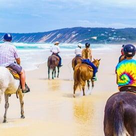 Horse riding, Rainbow Beach, Sunshine Coast, Australia.