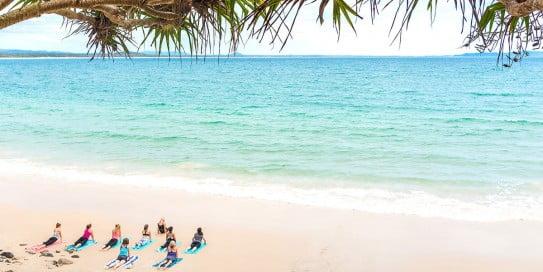 Yoga at Little Cove, Sunshine Coast, Australia.
