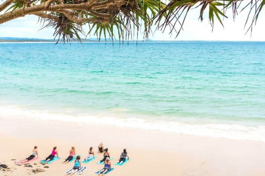 Yoga at Little Cove, Sunshine Coast, Australia.