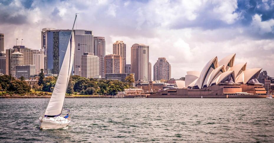 Cityscape with Opera House and Sailing Boat, Sydney, Australia