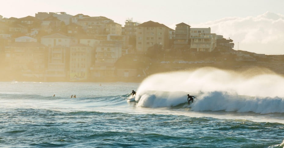 Surfers on Bondi beach, Sydney, Australia.