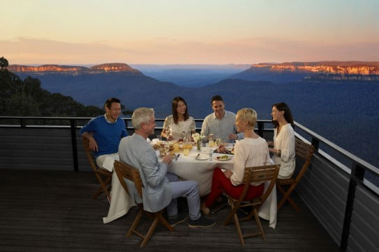 Friends dining at Echo's Boutique Hotel, Blue Mountains, Sydney, Australia.