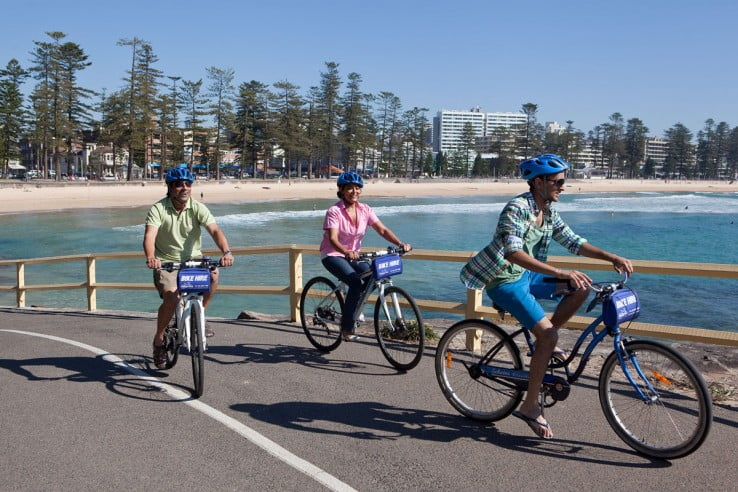 Cycling at Manly Beach, Sydney, Australia.