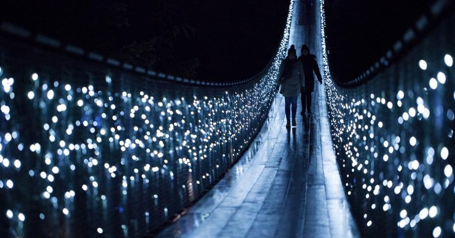 Capilano suspenion bridge in lights, Vancouver, Canada.