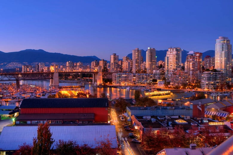 Granville Island at dusk, Vancouver, Canada.