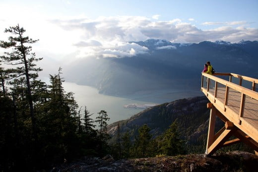Overlooking the Stawamus Chief Mountain and Howe Sound from the viewing platform, Seat to Sky Gondola, Vancouver, Canada.