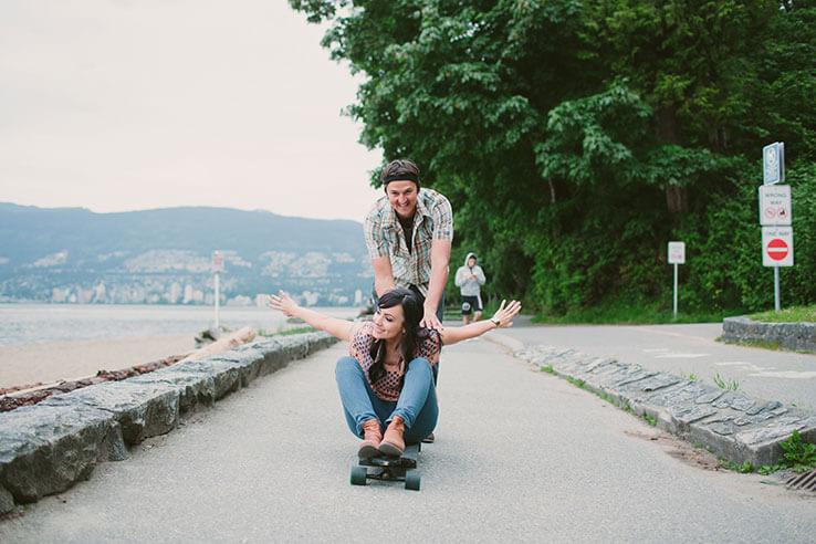 Skateboarding in Stanley Park, Vancouver, Canada.