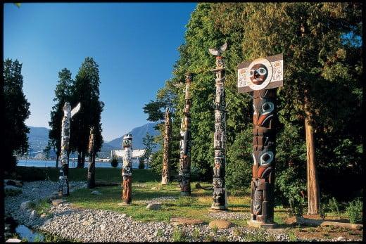 Totem poles, Stanley Park, Vancouver, Canada.
