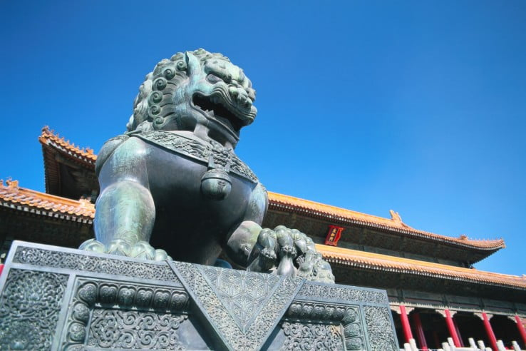 Lion statue, Forbidden City, Beijing, China.
