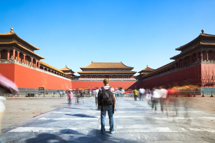Tourist at Forbidden City, Beijing, China.