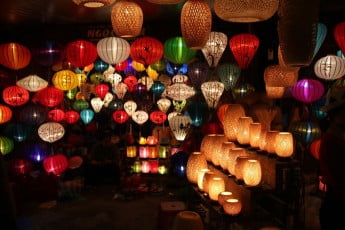 Illuminated Chinese lanterns.
