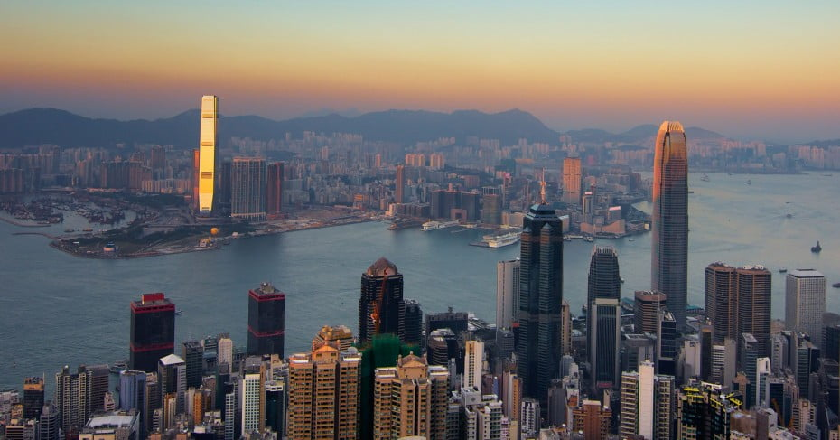 Skyline at dusk, Hong Kong.