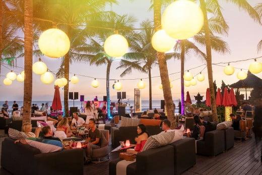 An evening at Woobar Beach Club, W Hotel, Seminyak, Indonesia.