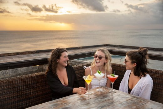 Girlfriends, Single Fin surf bar, Uluwatu, Indonesia.