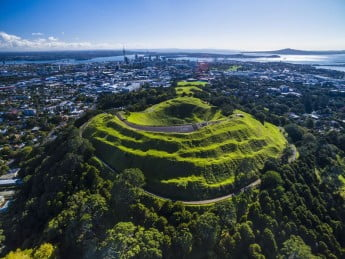 New Zealand Auckland aerial view of Mt Eden.